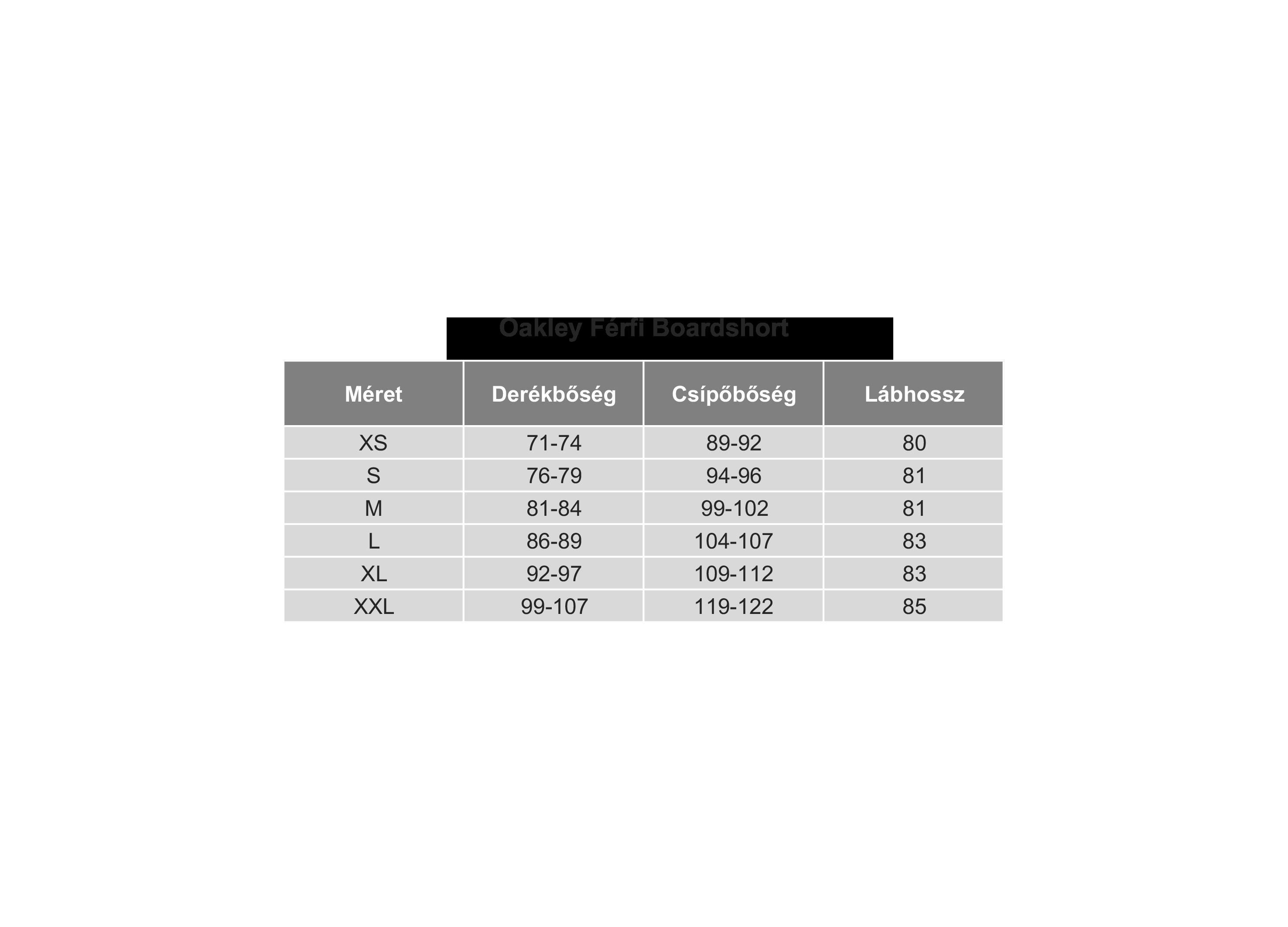 Oakley Boardshort Mérettáblázat
