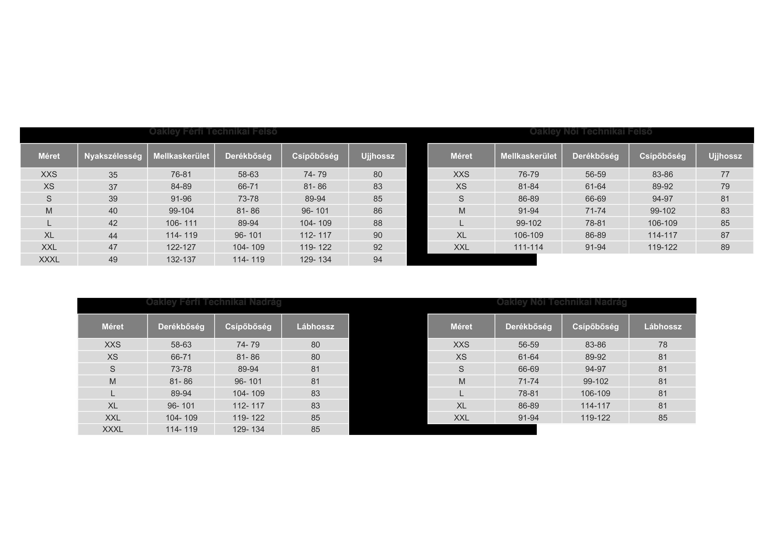Oakley Sí- és Snowboard Ruházat t Mérettáblázat