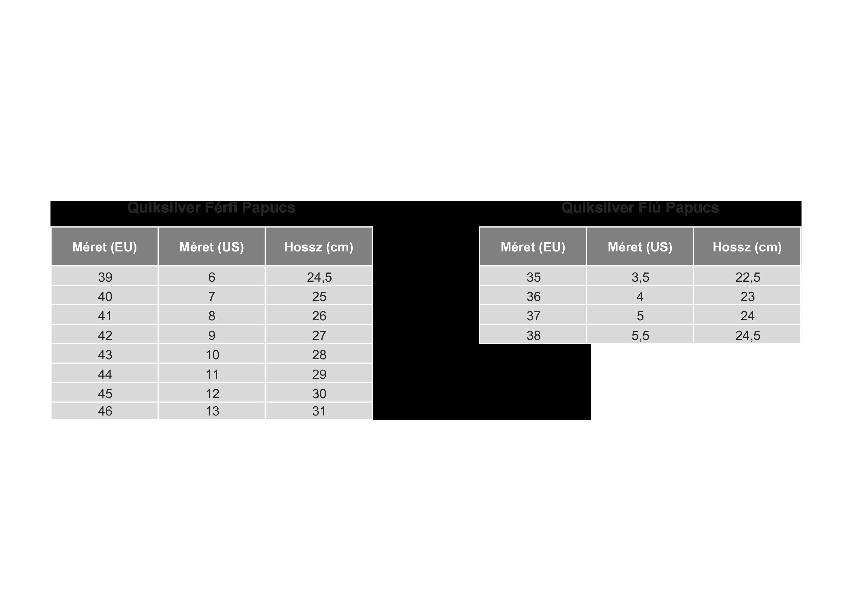 quiksilver mérettáblázat